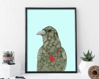 raven, raven print, raven art, wall art, wall art print ...
