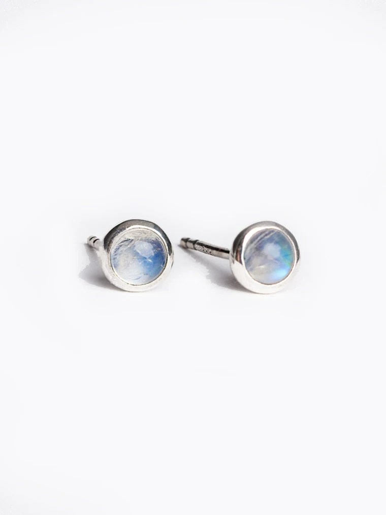 Tiny Moonstone Stud Earrings Sterling Silver Gold Plated
