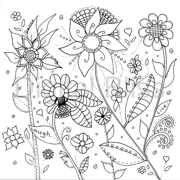 Adult Coloring Pages, Whimsical Wild Flowers Design, Adult