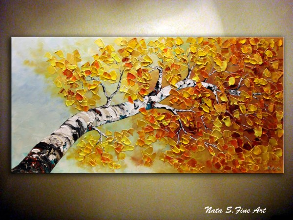 Birch Trees Original Abstract Painting Aspen