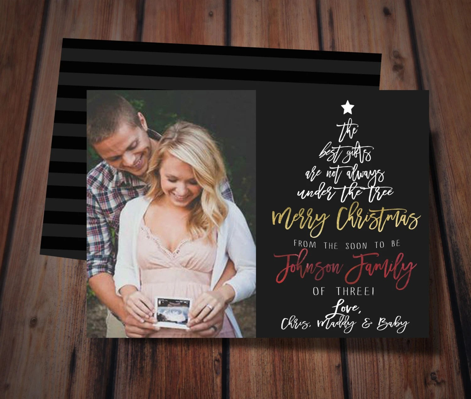 Items Similar To Christmas Pregnancy Announcement Card On Etsy