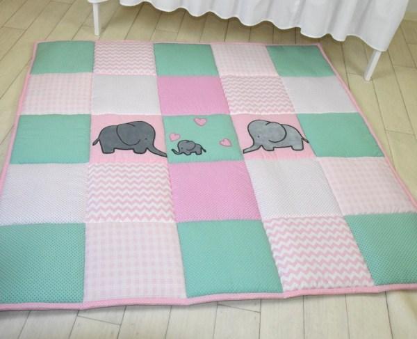 Baby Girl Play Mat Mint Pink Playmat Floor Gym Crawl