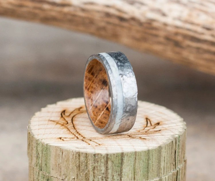 Mens Wedding Band Whiskey Barrel Lined Ring W By