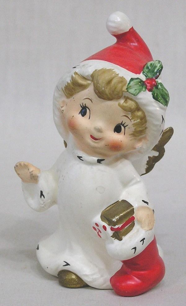 Vintage Lefton Christmas Shopper Angel Figurine Wearing