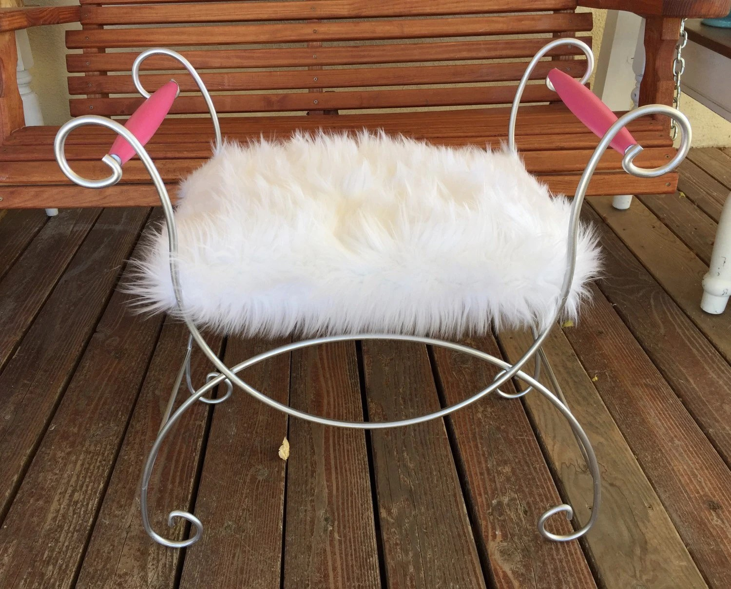 vanity chair white fur outdoor fire pit and chairs chandeliers pendant lights