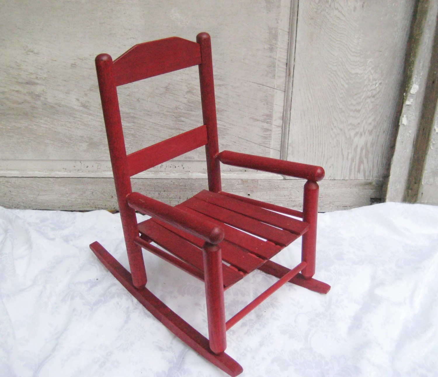 Red Rocking Chair Vintage Red Rocking Chair Slat Wood Child 39s Rocker