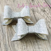 set of 2- layered glitter bows