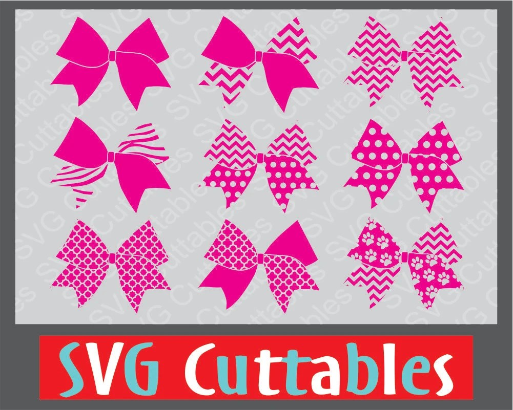 Download Cheer Bow Patterned Set with LOVE Design svg eps by ...