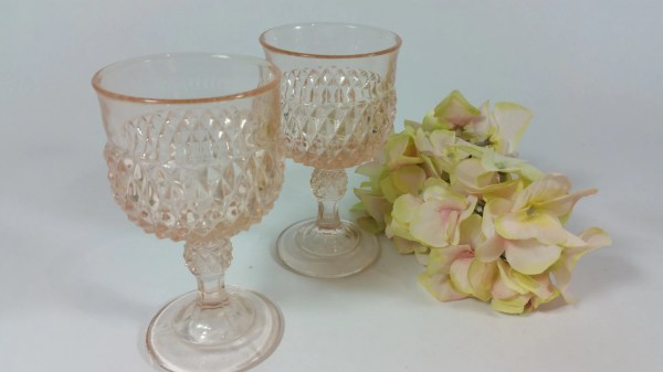 Depression Glass Pink Diamond Point America Anchor