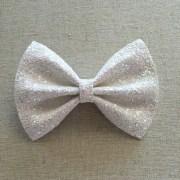 irridescent white glitter bow tie