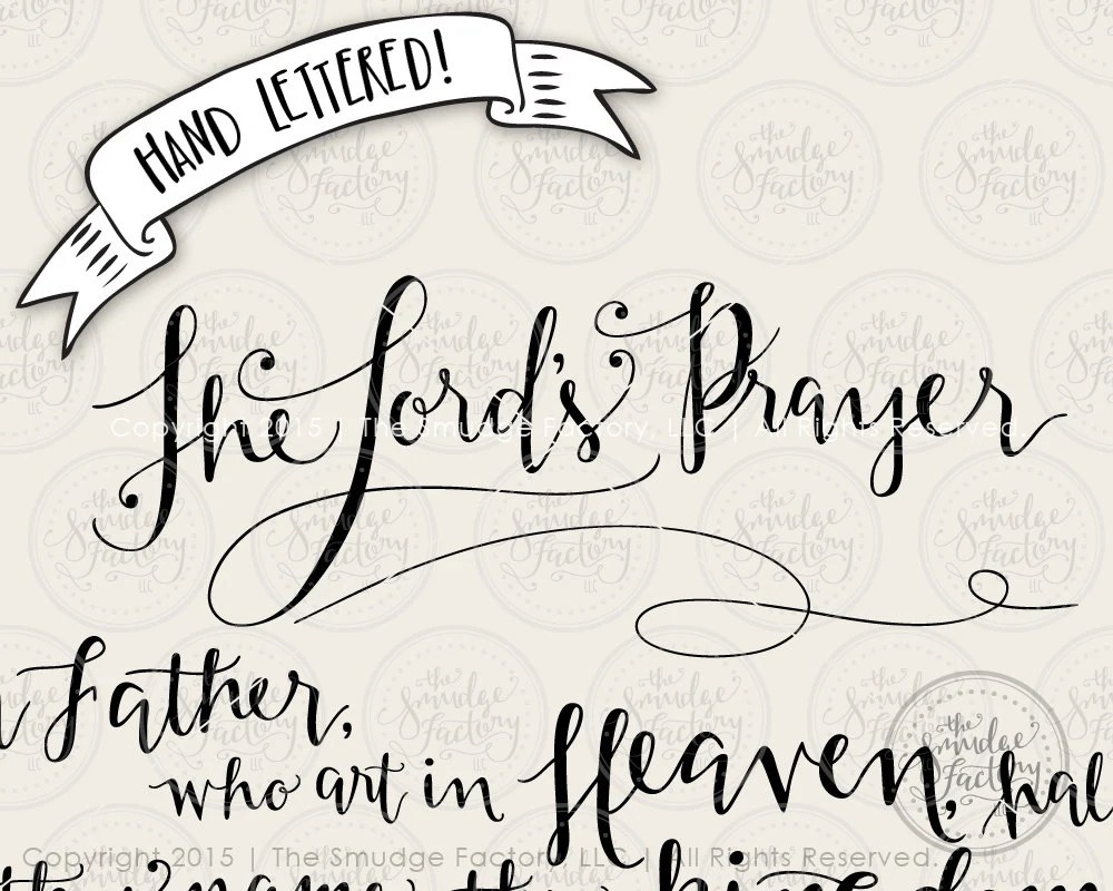 The Lord's Prayer SVG Cut File Bible Verse Hand
