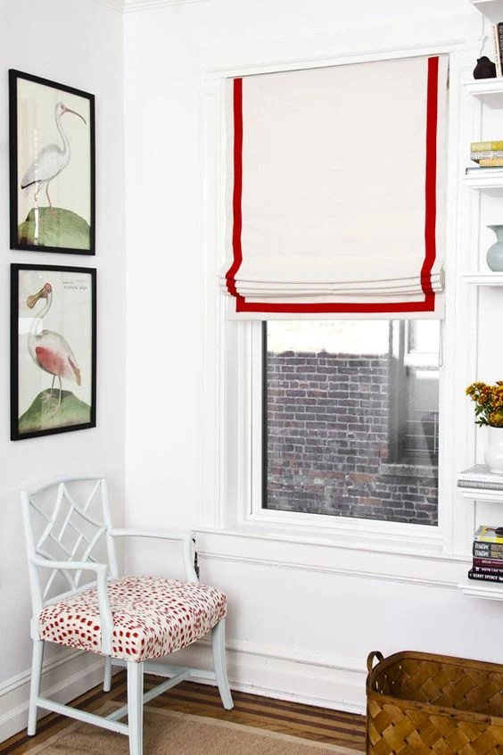 Flat Roman Shade White With The Red Trim With