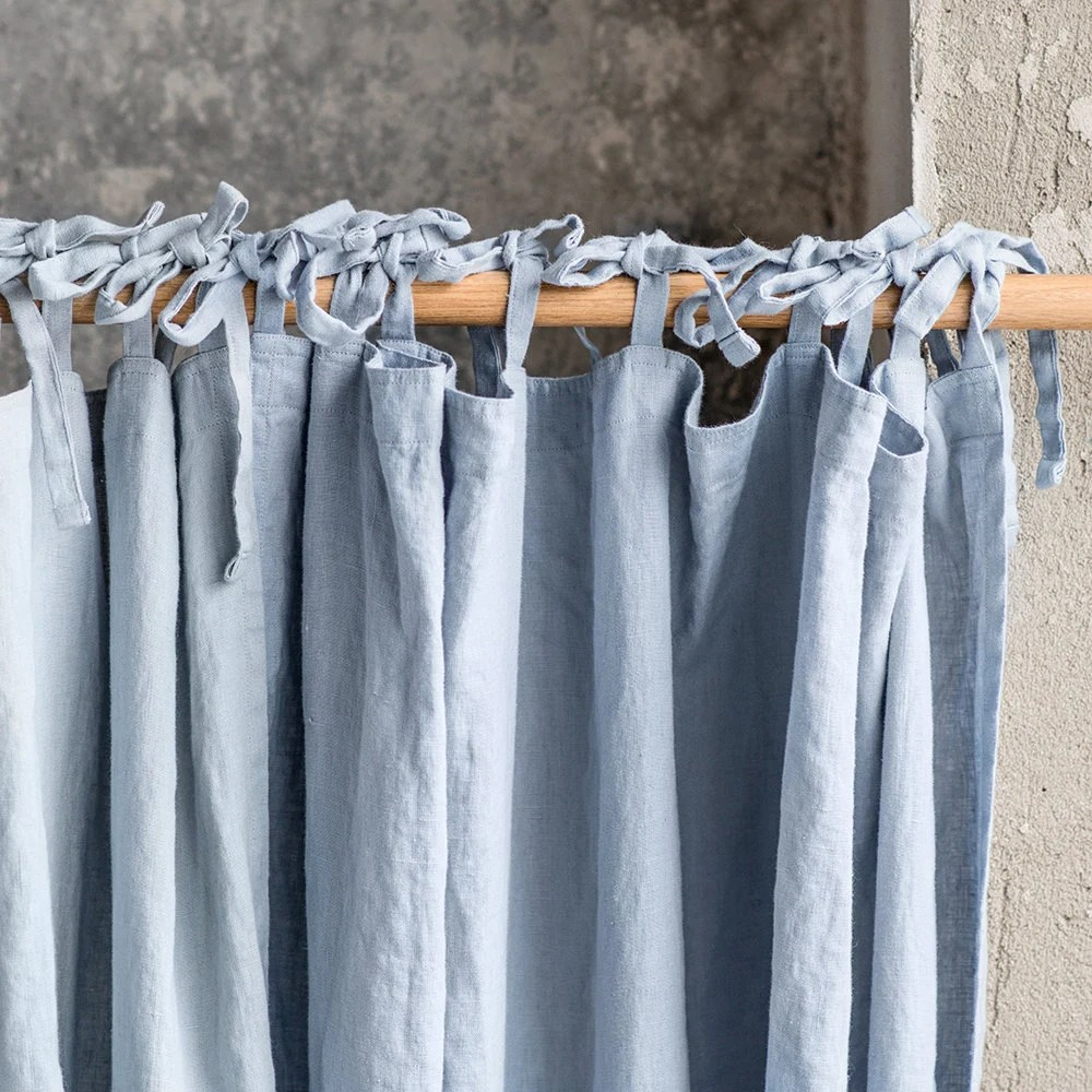 Bluish Grey Washed Linen Curtains Linen Drapes In Bluish