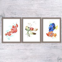 Nemo Watercolor print Finding nemo Disney animation Set of