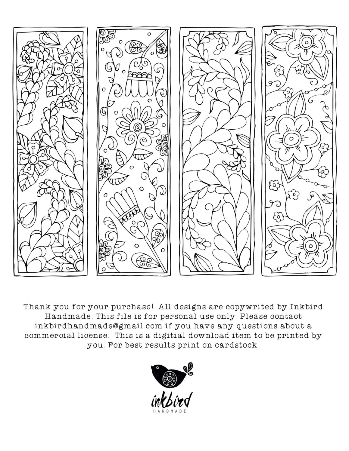 Floral Coloring Bookmarks Digital Download Coloring Page