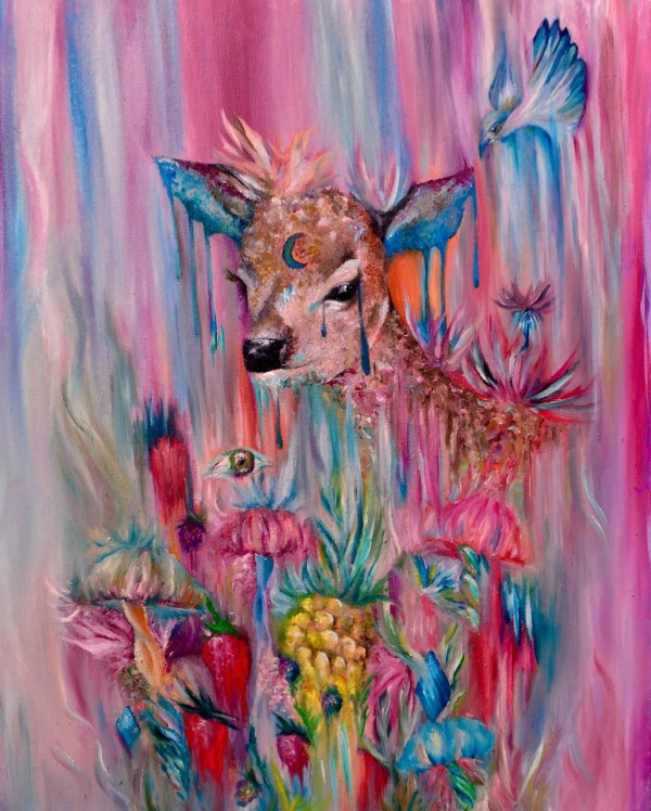 Whimsical Deer Abstract Oil Painting Art Print
