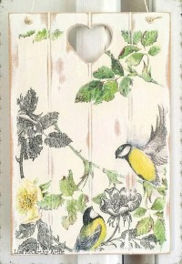 Wooden Wall Plaque Cottage Shabby Rustic Birds Wedding