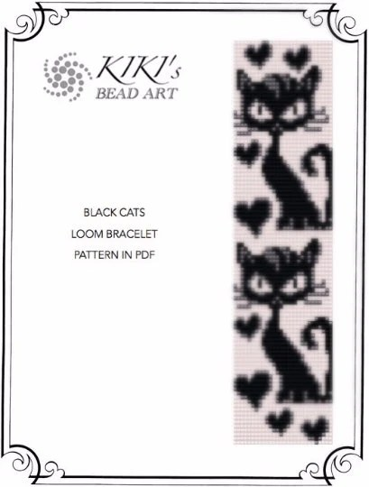 Bead loom pattern Black cats LOOM bracelet by KikisBeadArts