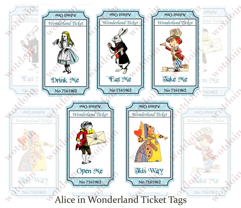 Printable Alice In Wonderland Drink Me Eat Me Tags Tea Partys