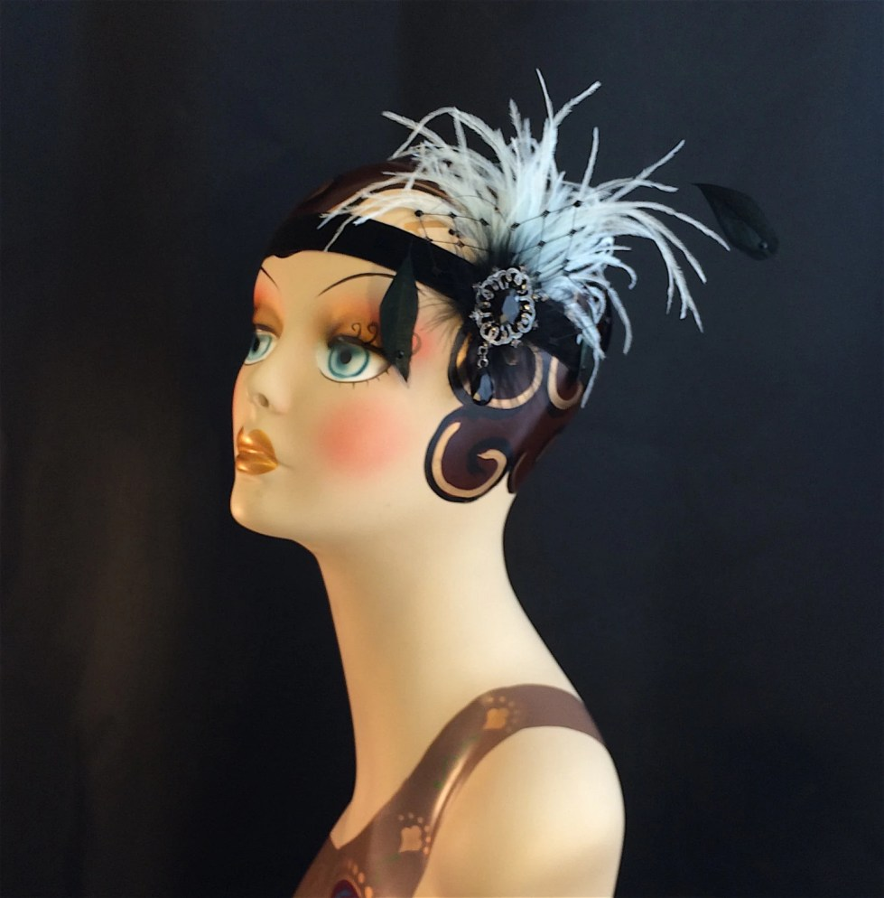 Great Gatsby Headband, Downton Abbey, Art Deco Flapper Headband, 1920s Headpiece, 1920s Flapper, Speakeasy, Baby Blue and Black