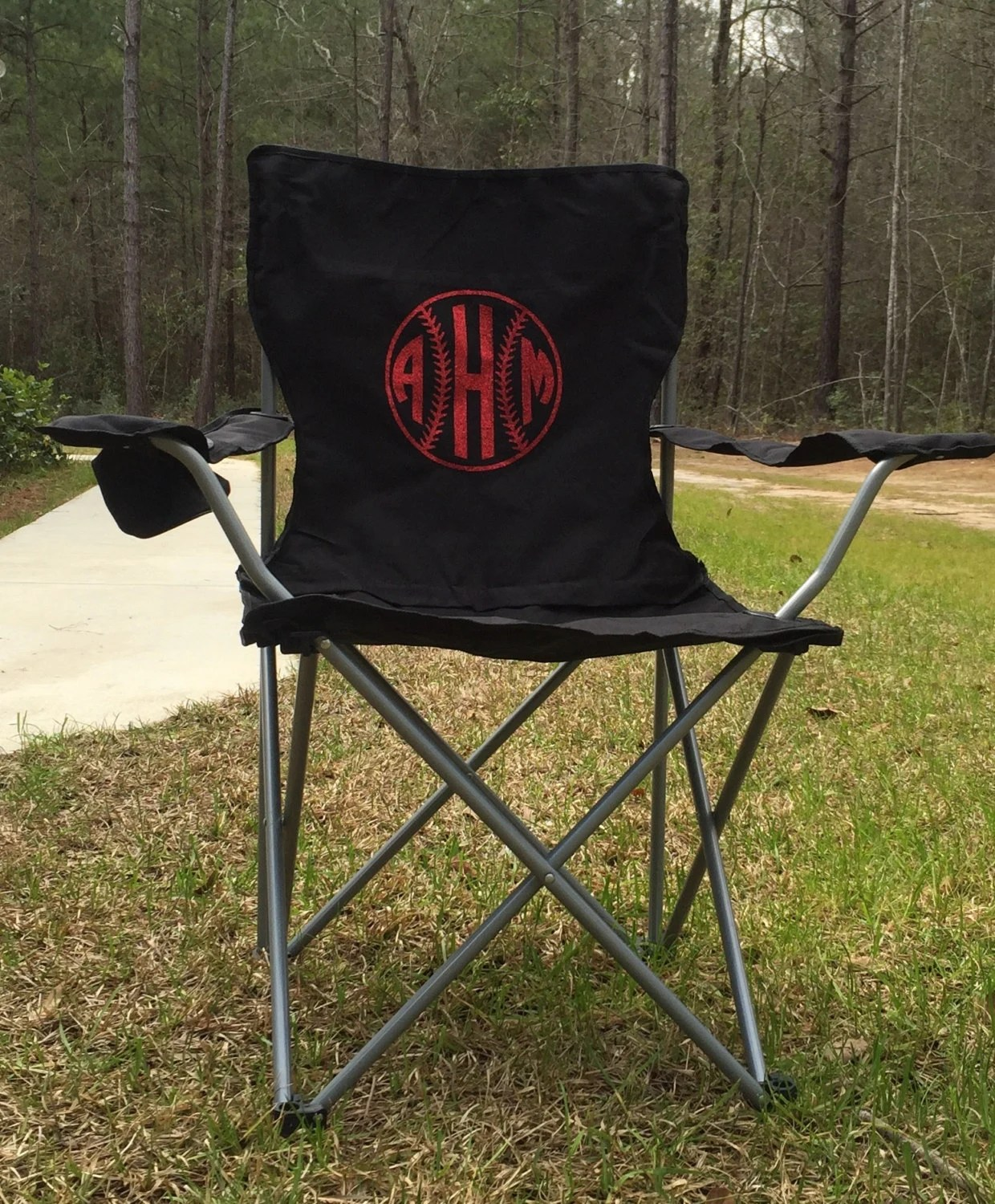 personalized camping chairs queen anne chair slipcover monogrammed camp softball baseball by
