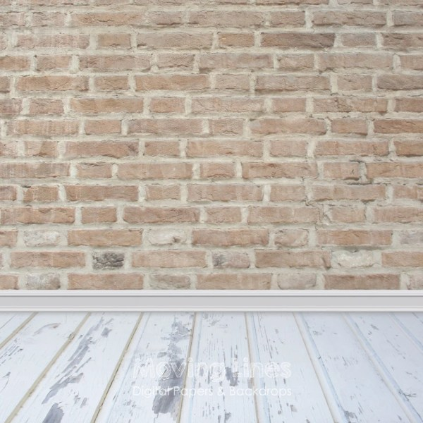 Brick Wall Wood Floor Newborn Baby Backdrop
