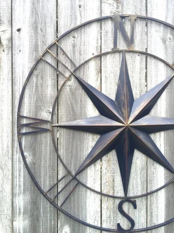 Nautical Decor Navy Blue Compass Compass Wall Art Metal