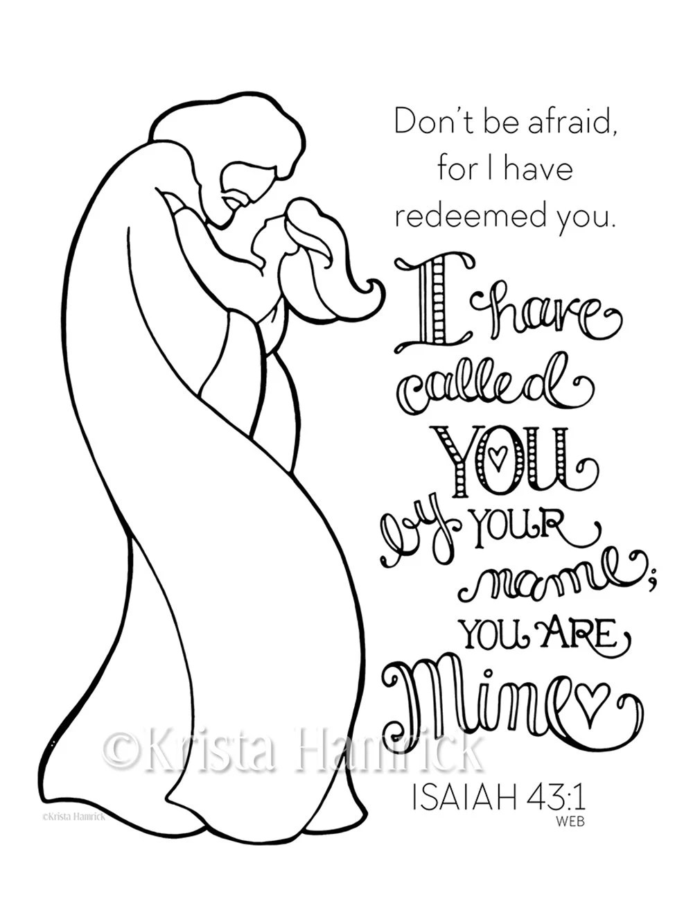 I Have Called You By Name Girl coloring page 8.5X11 Bible