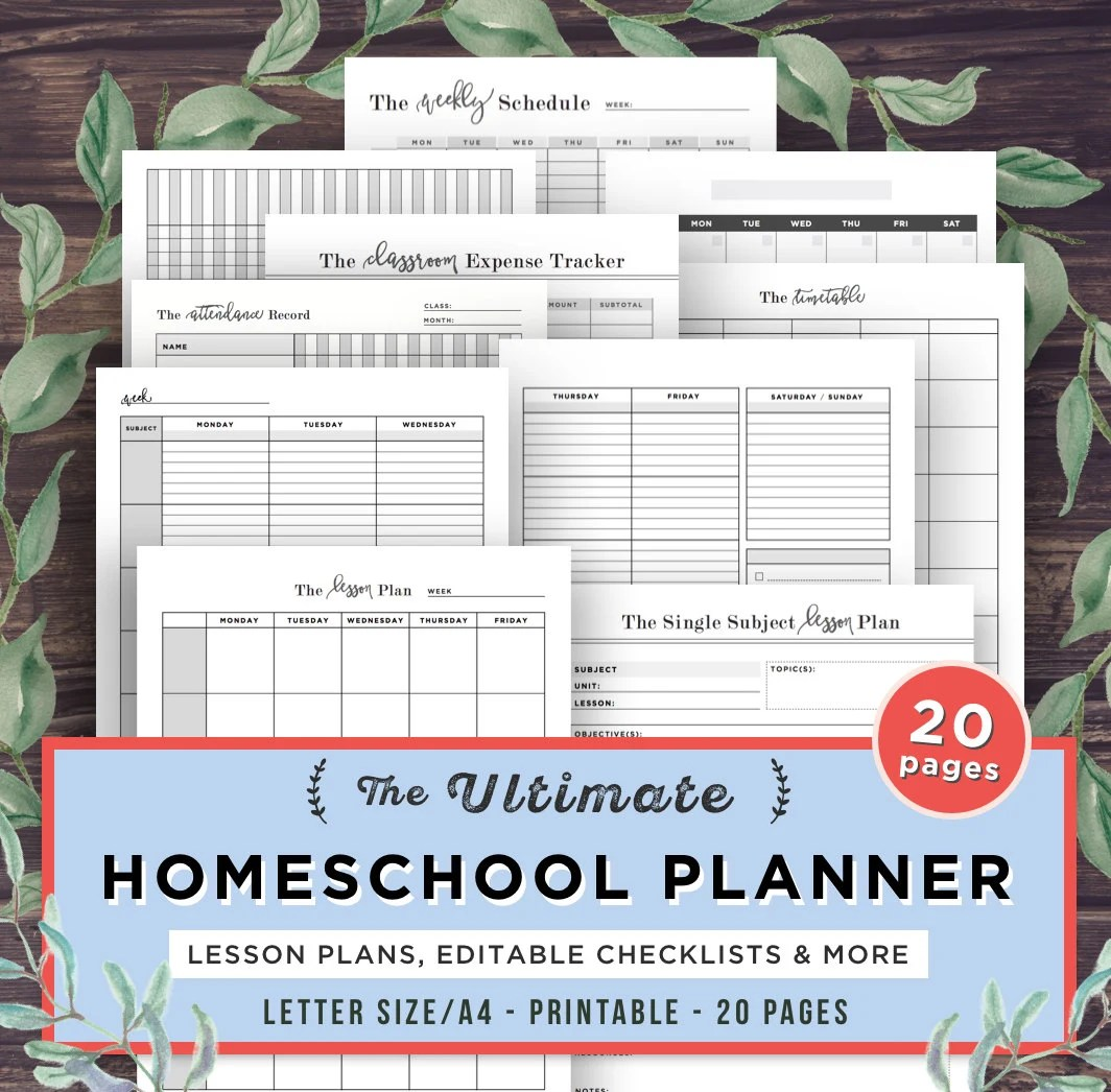 Homeschool Planner Printable School Planner Mom Teacher