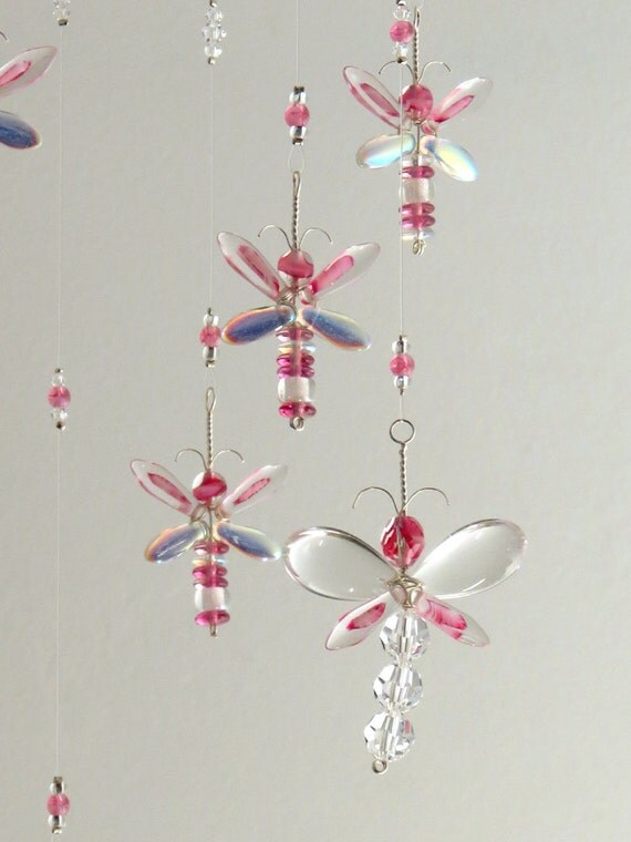 Pink Dragonfly Mobile Girls Room Decor Baby by