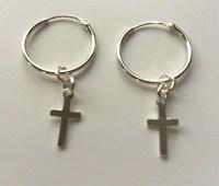 Sterling Silver Hoop Cross Charm Dangle Earrings Jewellery