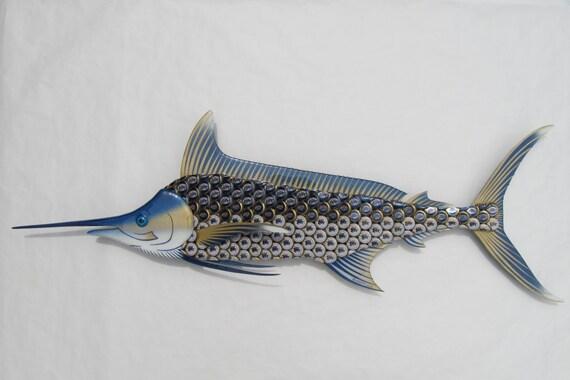 Metal Fish Wall Art Blue Marlin made with Miller Lite