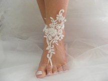 Beach Wedding Barefoot Sandals Shoes Ivory Lace