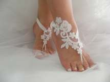 Wedding Shoes White Sequined Lace Barefoot Sandals Beach