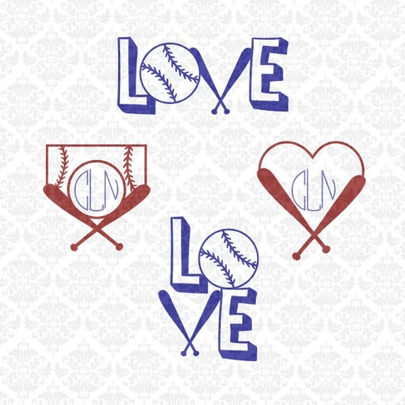 Download Love Baseball Softball Fast Pitch Monogram Heart SVG STUDIO