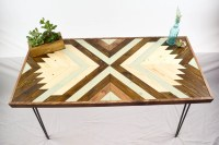 Wood Coffee Table with Hairpin Legs Geometric Wood Coffee