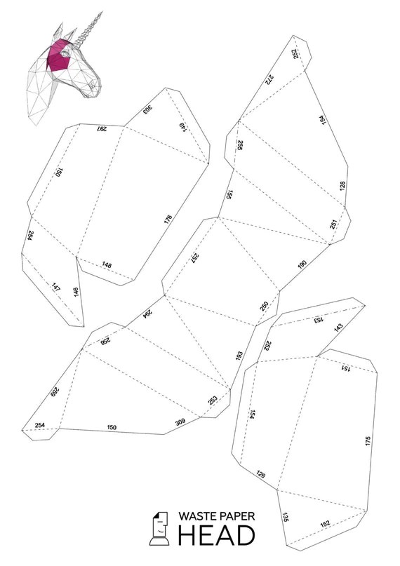Papercraft unicorn head printable DIY template by