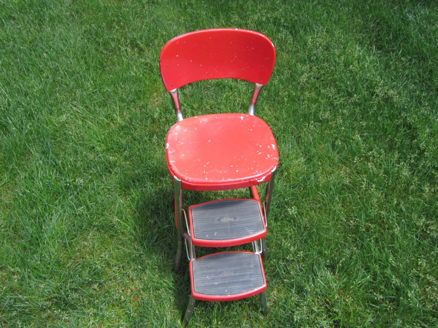 retro chair step stool lazy boy sleeper cosco stylaire red vintage mid century atomic