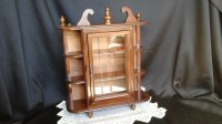 Curio Cabinet Wood and Glass Wall Hanging Small Cabinet