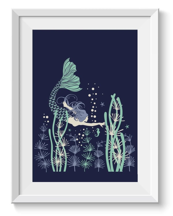 Mermaid Art Print Graphic Ocean Banyantreeartprints