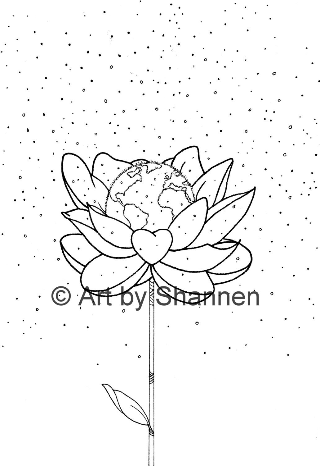 Earth Day Illustration Only Printable Colouring Page