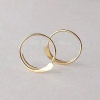 Solid Gold Open Hoop Earrings Hammered Simple 14k Gold Hoops