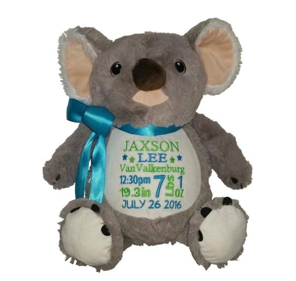 Personalized Koala Bear Stuffed Plush Animal Custom Embroidery