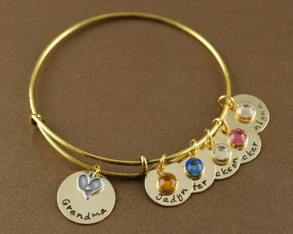 Grandma Bracelet Heart Bangle Personalized Bangle Bracelet