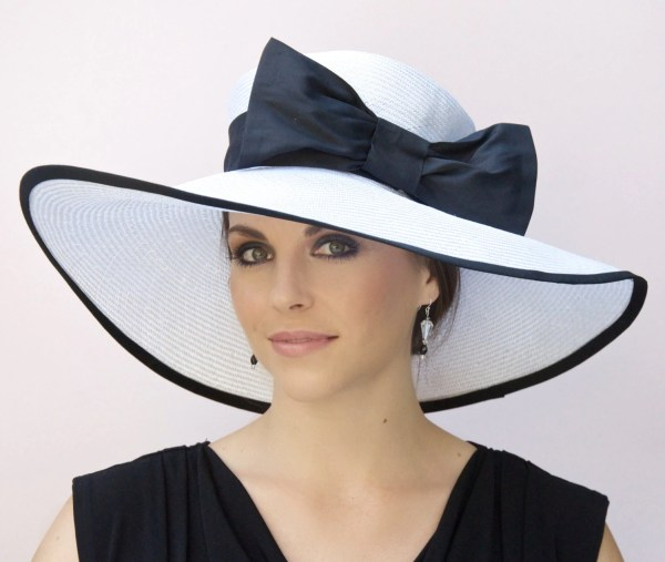 Wedding Hat Black And White Wide Brim Derby