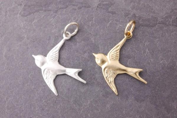 Flying Bird Charm Add Gold Silver
