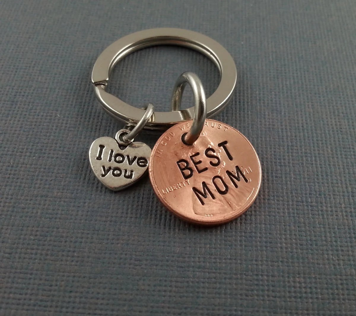 Best Mom Keychain I Love You Charm Personalized Keychain