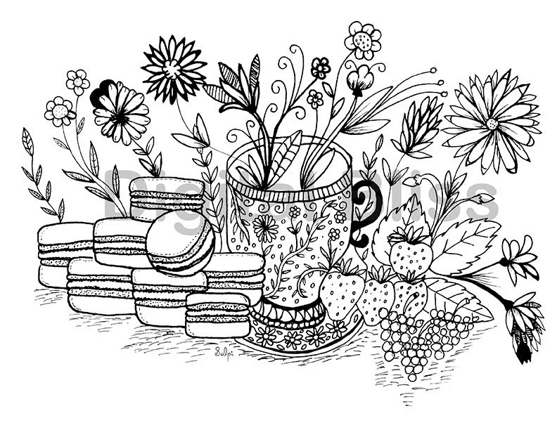 INSTANT DOWNLOAD Adult Coloring Page, Design Colouring