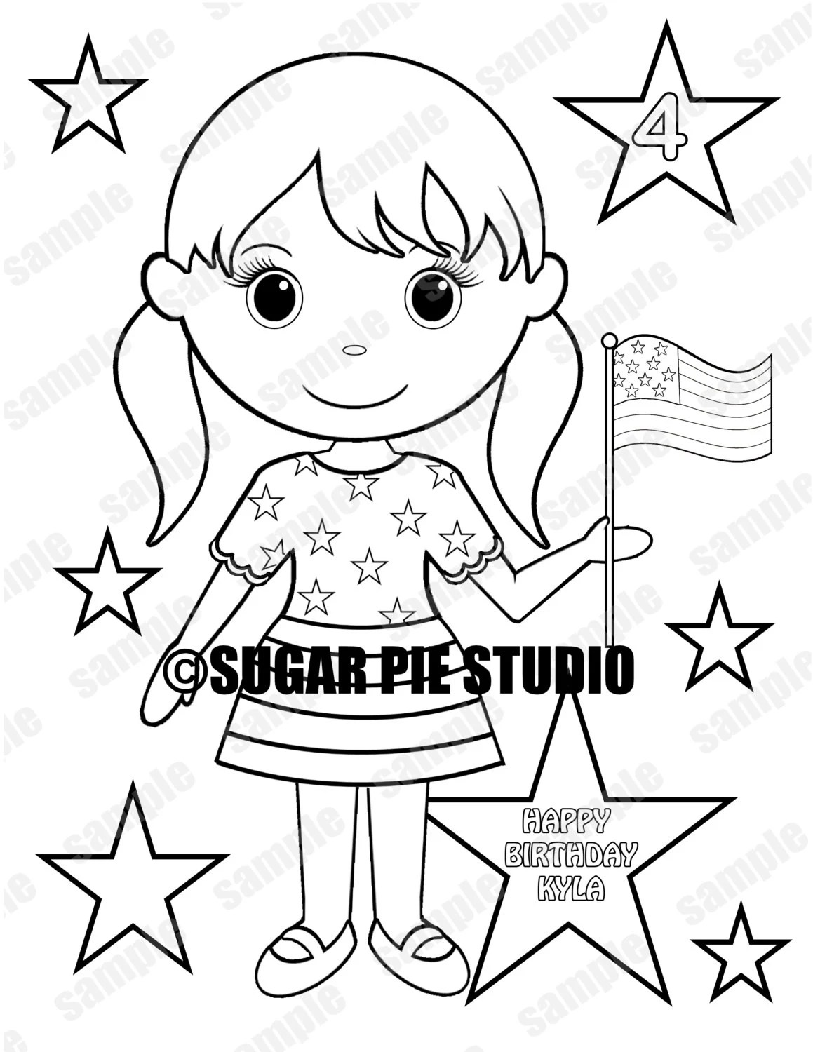 Patriotic 4th of july birthday coloring activity page PDF or
