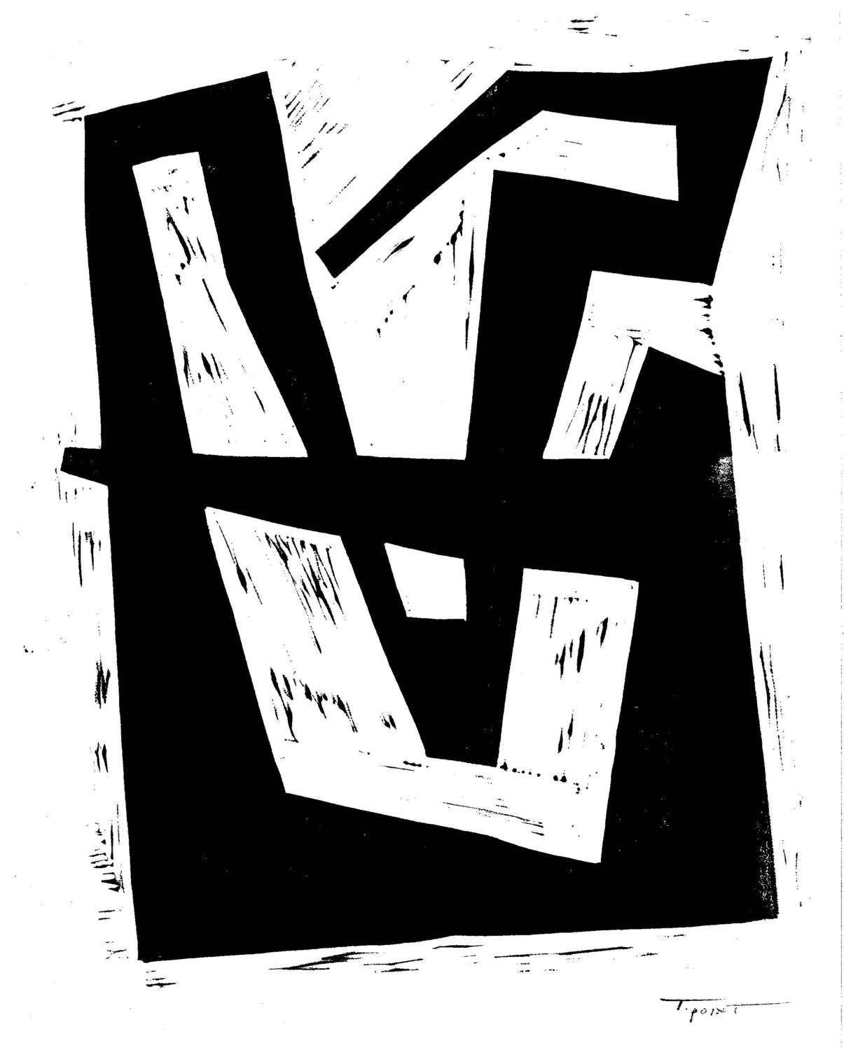 Linocut Print Simple Modern Intersecting Lines 8 X By